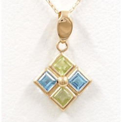 K18 18-karat gold YG yellow gold necklace peridot blue topaz used jewelry ★★ giftwrapping for free