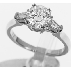 HARRY WINSTON Harry Dai Winston-ya (D1.02ct D-VS2) round classical music ring PT950 platinum Japan size approximately 7.5 #47.5 HW GIA appraisal ring Lady's 30861220
