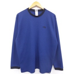 Old clothes long sleeves vintage thermal T-shirt North Face THE NORTH FACE logo big size dark blue navy XL size used men
