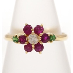 K18 18-karat gold YG yellow Goldring 10.5 emerald ruby white sapphire used jewelry ★★ giftwrapping for free