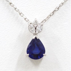 PT900 platinum necklace sapphire 1.18 diamond 0.18 differentiation book used jewelry ★★ giftwrapping for free