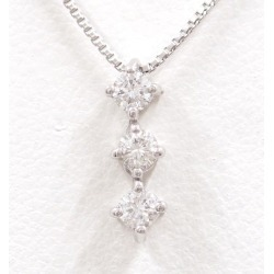 K18 18-karat gold WG white gold necklace diamond 0.20 used jewelry ★★ giftwrapping for free
