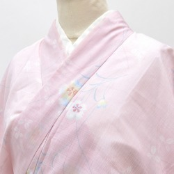 L pink 色系花文様特品 ★★★★ mm1426b slightly plump recycling fine pattern / summer clothes thing summer clothing chemical fiber washable kimono newly made / recycling kimono / 裄 66cm M dress length 160cm M