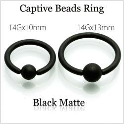 14 G Matt Black Captive Bead Rings Rings And Earrings Ear Lobe Piercing