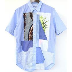 JUNYA WATANABE COMME des GARCONS MAN ジュンヤワタナベコムデギャルソン 16SS pach shirt patchwork design short sleeves shirt men sax blue M