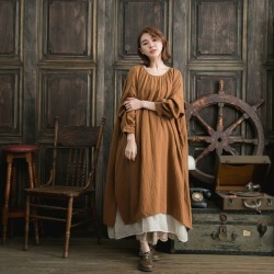 It is winter clothes in clothes fall and winter in autumn in autumn in the fall and winter latest dress long length A-line cotton cotton 100% long sleeves brown tea balloon dress layering chiffon skirt chiffon long skirt flared skirt lei yard 2019aw 2019