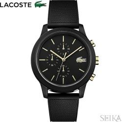 The watch that Lacoste LACOSTE 12.12 2011012 (150) clock watch men black gold rubber is black