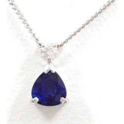 PT850 platinum necklace sapphire 0.59 diamond 0.05 used jewelry ★★ giftwrapping for free