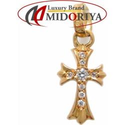 Authentic CHROME HEARTS 22K Yellow Gold Cross Baby Fat Diamond Charm /092164 FREE SHIPPING