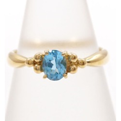 K18 18-karat gold YG yellow Goldring 8.5 blue topaz used jewelry ★★ giftwrapping for free