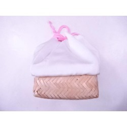 Unused article accessory drawstring purse bag plain fabric sect sou in Japanese dress