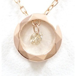 K18 18-karat gold PG pink gold necklace diamond 0.08 used jewelry ★★ giftwrapping for free