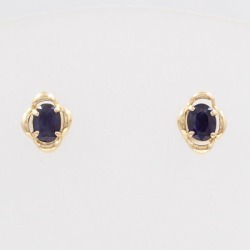 K18 18-karat gold YG yellow gold pierced earrings sapphire used jewelry ★★ giftwrapping for free