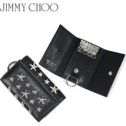ジミーチュウ JIMMY CHOO key case key ring Lady's six leather star studs NEPTUNE CST BLACK black black