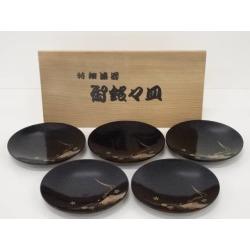 Five sets of black lacquer coat gold lacquerwork small plates [tea ceremony / tea set / tea service set / curio / tea]
