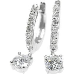 Diamond hoop X frill pierced earrings /K18WG/750-2.24g/ (0.284+0.276) 0.56ct/(0.1+0.1) 0.2ct/ center jewel research institute /F SI-2 G F SI-2 G/ white gold /i190803 ★■ 301991