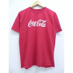 Among old clothes T-shirt Hanes Hanes Coca-Cola red red medium size used men short sleeves Old; a men's short-sleeved print character