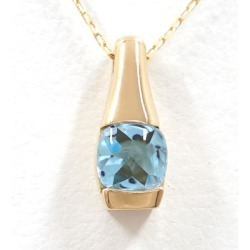 K18 18-karat gold YG yellow gold necklace blue topaz used jewelry ★★ giftwrapping for free