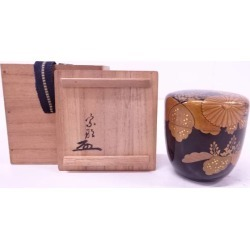 Pear underground jujube (note of authentication on a box containing an object of art existence) in the 幸山造漆塗 り lacquer work Japanese Imperial Household crest [tea ceremony / tea set / tea service set / curio / tea / jujube]