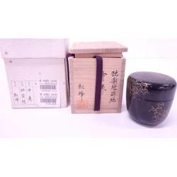 蒔絵師中出松峰造漆塗 り 蒔絵独楽継中棗 [tea ceremony / tea set / tea service set / curio / tea / jujube]