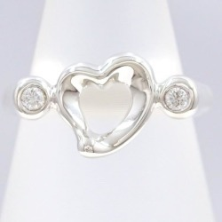 Tiffany open heart silver ring 7.5 diamond bag used jewelry ★★ giftwrapping for free