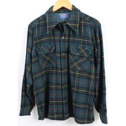 Men M vintage /wbh8263 in the 70s made in pen Dalton PENDLETON board shirt tartan check open collar wool box shirt USA