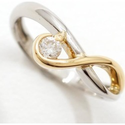 PT900 platinum K18YG ring 8 diamond 0.10 used jewelry ★★ giftwrapping for free