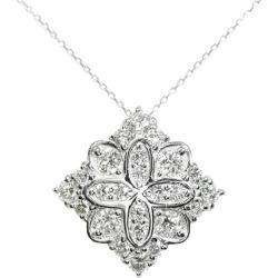 Square X flower motif diamond necklace pendant /K18WG X Pt900 combination -4.38g/0.96ct/ white gold X platinum color /i190702 ★■ 297064