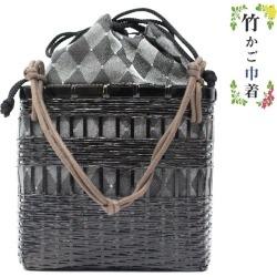 Basket drawstring purse basket bamboo bag yukata black gray lam 菱型模様縦長夏祭 り fireworks display