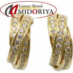 Diamond pierced earrings K18YG yellow gold Lady's jewelry /27506