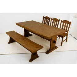 It includes the postage with the floating made dining table (table one piece of article) wooden (pine / pine) woodgraining adjuster!