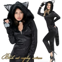 Halloween costume play cat cat all-in-one black cat clothes sexy animal Halloween costume play clothes costume disguise Lady's cat ear adult woman halloween disguise