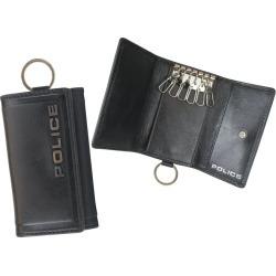 Five POLICE EDGE KEY CASE police key case key ring men leather black camel dark brown black PA-58003 [7/26 Shinnyu load] [197]