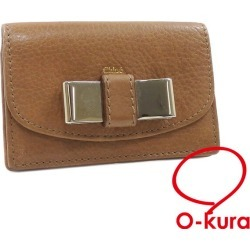 Kuroe card case Lily Lady's brown brown leather Chloe card case ribbon postage distinction deep-discount exemption from taxation A4028641