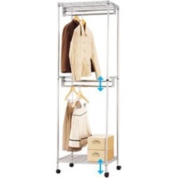 It includes the height adjustment possible postage with the cover / shelf / caster made of sturdiness hanger rack steel that 1.5 times takes it!