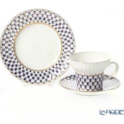 Russian tableware Imperial porcelain cobalt net three pieces set (wave) 155cc tableware set celebration wedding present brand family celebration