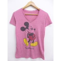 Spring clothes summer clothing summer clothes Disney DISNEY Mickey MICKEY MOUSE thin crimson marbled beef in the spring and summer an old clothes Lady's T-shirt for spring I show cute casual lady's fashion fashion
