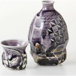 Mino ware Japanese dishes gift made in sake bottle & taking a swig at a bottle bottle and cup set deep purple Japan