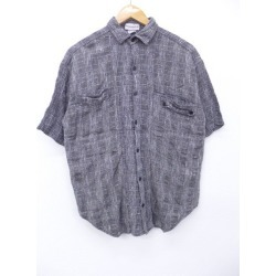 Old clothes short sleeves shirt gray glen check large size used men tops Spring clothes summer clothing summer clothes casual shirt men fashion short sleeves shirt fashion for spring is casual in the spring and summer