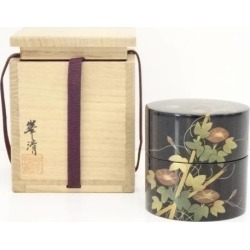 Seizo Mine black lacquer coat morning glory lacquer work green tea canister jujube [tea ceremony / tea set / tea service set / curio / tea / jujube]