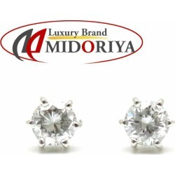 Diamond pierced earrings Pt900 one diamond 0.29ctx2 platinum Lady's jewelry /27497