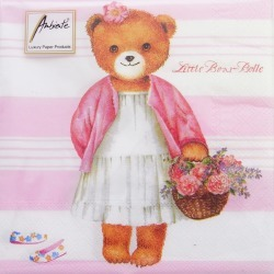 16 Paper Towel Little Bear Girl Belle Pink Package Size 10 P Ambiente, found on Bargain Bro India from Rakuten Global for $4.00