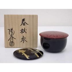 岡本陽斎造漆塗春秋棗 [tea ceremony / tea set / tea service set / curio / tea / jujube]