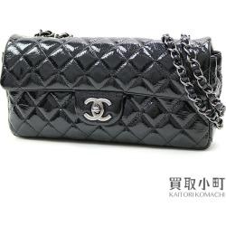 Chanel matelasse classical music flap bag black patent leather medium W chain shoulder here mark twist lock quilting #12 CLASSIC FLAP BAG