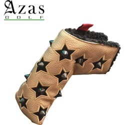 Azas Golf SELMO Head Cover 19sm made in head cover 合皮 leather studs Japan for the アザスゴルフ 7901 Selmo head cover Stella black X gold (BK)PT putter