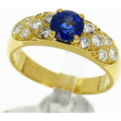 Van Cleef & Arpels ヴァンクリーフ & アーペルダイヤ (D0.35ct) sapphire (S0.76ct) ring 750 K18 YG yellow gold Japan size approximately eight #48 VCA Lady's ring 30871208