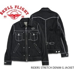 "G jacket /RIDERS STRETCH DENIM G JACKET ""BLACK"" white stitch: ★ REAL DEAL with emblem シンチバック"