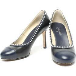 Beautiful article Chanel pearl leather pumps Lady's SIZE 371/2C (M) CHANEL