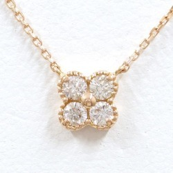 K18 18-karat gold PG pink gold necklace diamond 0.20 used jewelry ★★ giftwrapping for free