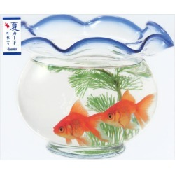 S4217 Sanrio overuse road summer card summer card UV processing in postcard summer in summer with one piece of summer greeting card die cut goldfish bowl